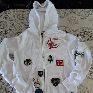 Roots Canada White Multi Patches Hoodie Xxs